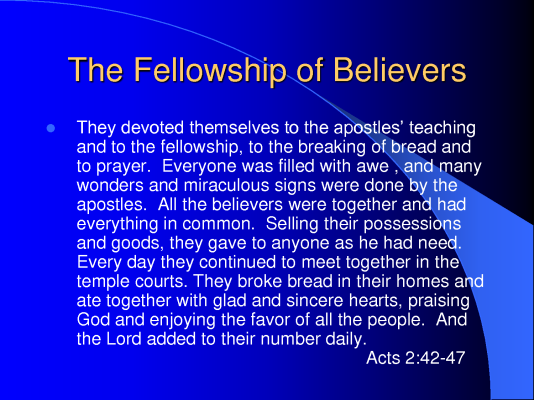 fellowship of believers 2